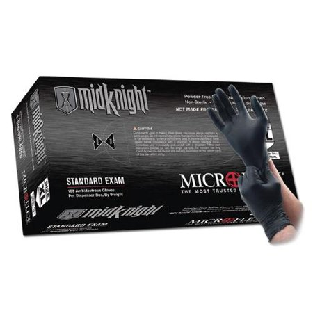 Microflex Medium Black 9.645'' MidKnight 4.7 mil Nitrile Ambidextrous Non-Sterile Medical Grade Powder-Free Disposable Gloves With Fully Textured Finish And Standard Examination Beaded Cuff (100 (Agent 47 Gloves)
