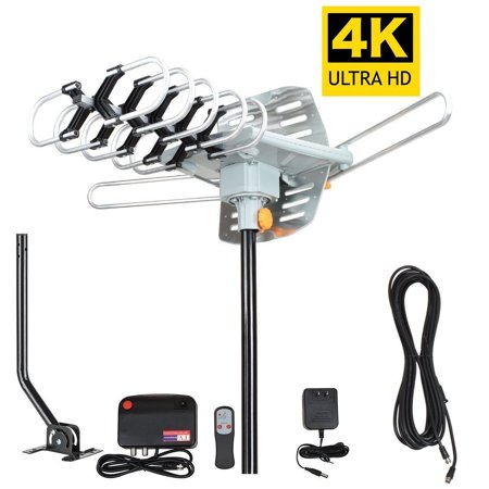 Outdoor 150 Mile 4K Motorized TV Antenna with Mounting Pole 360 Degree Rotation OTA Amplified HD, Support - UHF VHF 1080P Channels ()