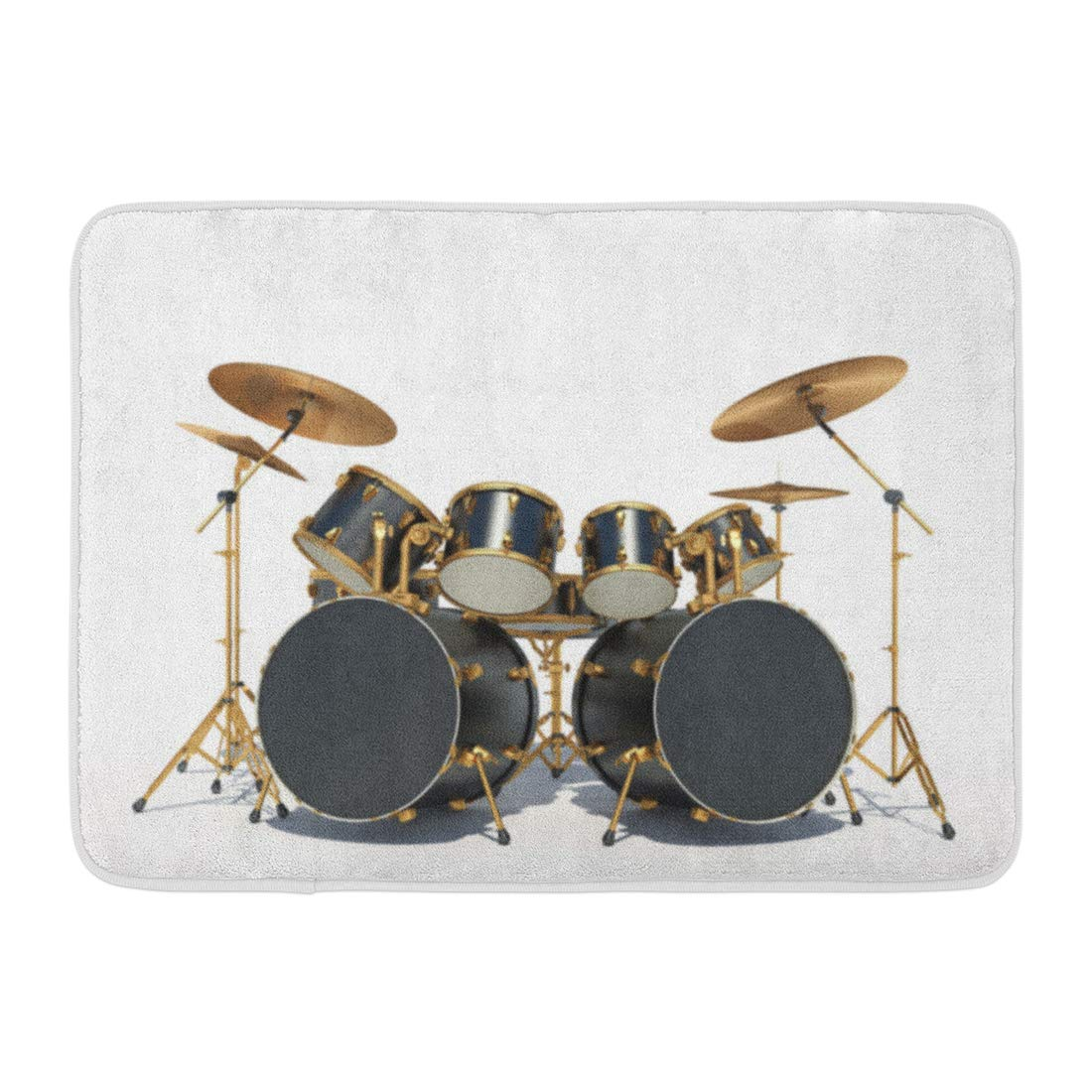 GODPOK Beat Black Bass Steampunk Style Drum Kit White 3D Render Silver Battery Bronze Rug Doormat Bath Mat 23.6x15.7 inch