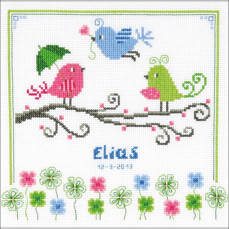 """Colourful Birds Birth Record On Aida Counted Cross Stitch Kit, 8.75"""" x 8.75"""", 14 Count"""