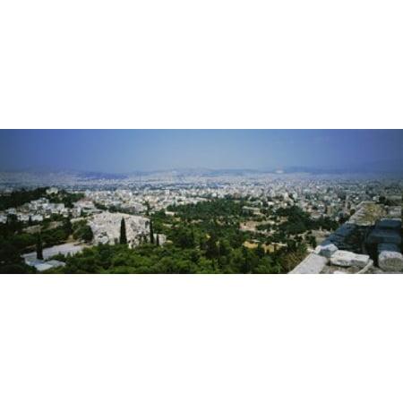 - High angle view of a city Acropolis Athens Greece Poster Print