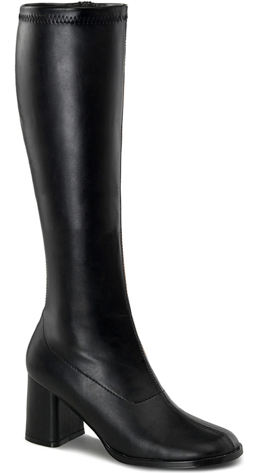 Womens Go Go Boots Black Knee High Boots 3 Inch Heels Stretch with Block Heel