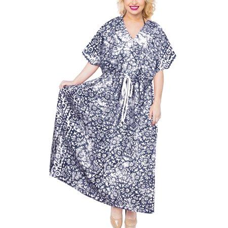 Womens Batik Caftan Summer Plus Size Cotton Ladies Tunic Dress Maxi Beach Wear Loose (Batik Caftan Dress)