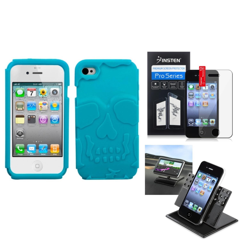 Insten Film+Holder+Tropical Teal Green Skullcap Base Hybrid Case Cover For APPLE iPhone 4S/4