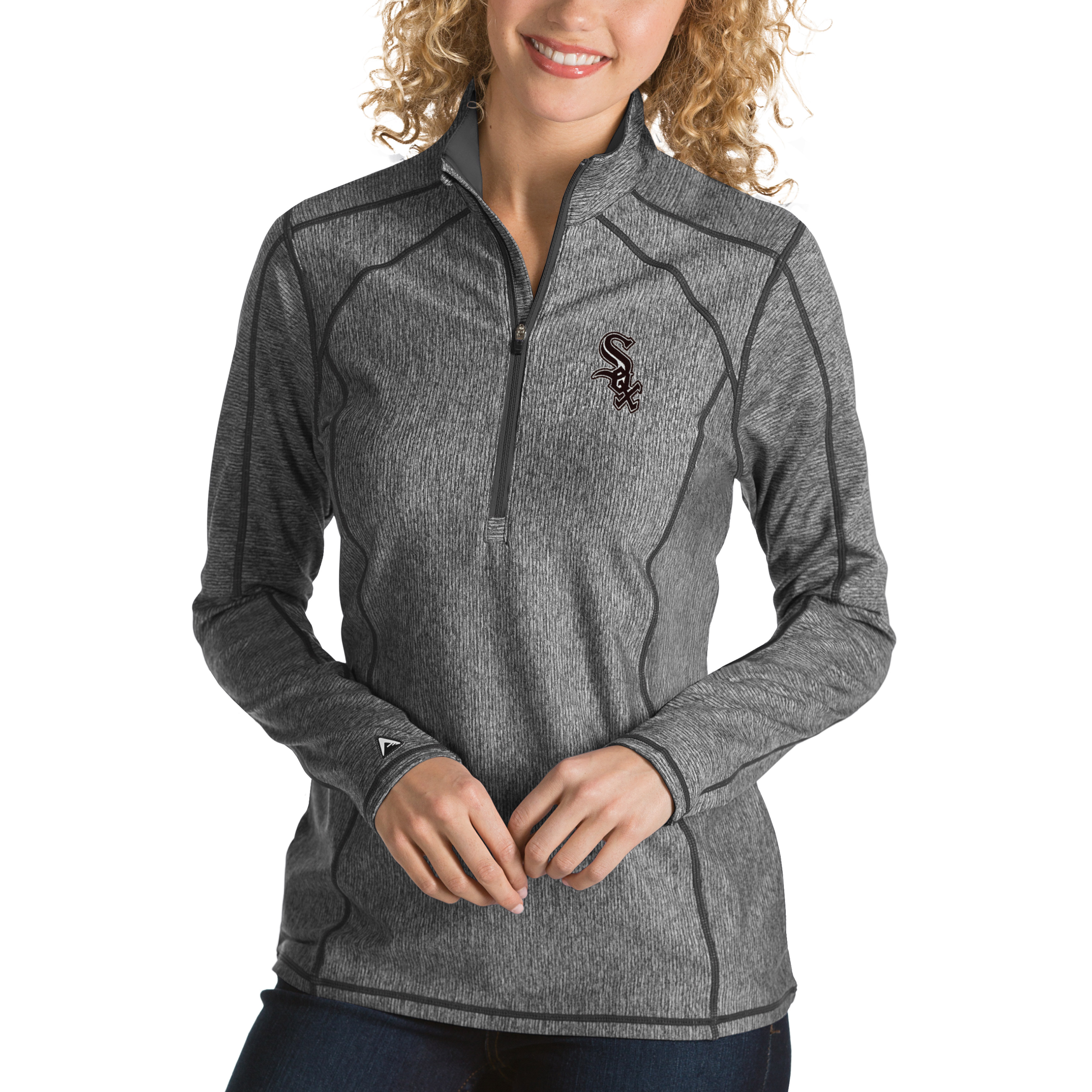 Chicago White Sox Antigua Women's Tempo Desert Dry 1/4-Zip Pullover Jacket - Heathered Charcoal