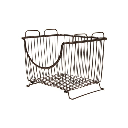 Spectrum Diversified Ashley Stackable Wire Basket With Raised Feet and Looped Handles, Modular Stacking Bin System for Kitchen Countertop & Desk Organization, Large, Bronze