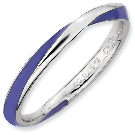 b0dba37be ProPiercing - Purple Enamel Twist 2.5mm Band Sterling Silver Stackable Ring  - Walmart.com