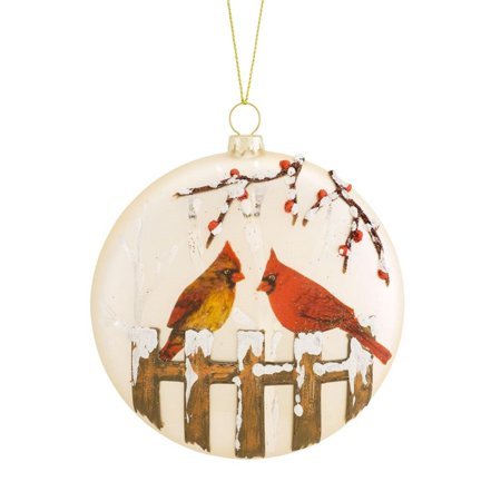 Melrose Cardinal and Fence Disc Ornament - Set of - Cardinal Ornaments