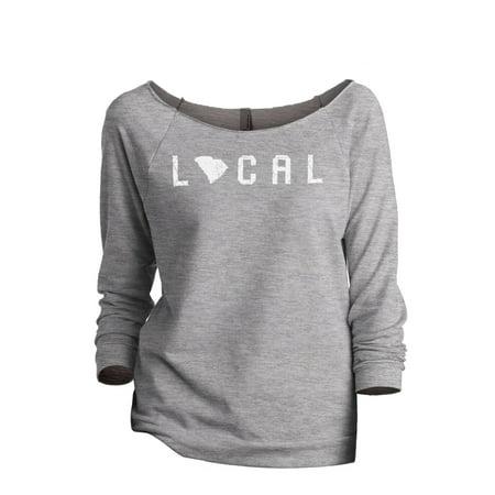 Thread Tank Local South Carolina State Women's Slouchy 3/4 Sleeves Raglan Sweatshirt Sport Grey -