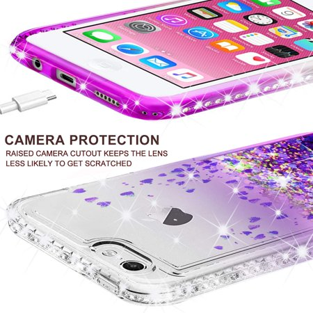 the latest 66f69 97ec9 Apple iPod Touch 6 Case, iPod 6/5 Case [Tempered Glass Screen  Protector],Glitter Liquid Quicksand Waterfall Bling Sparkle Diamond Case  For Apple iPod ...