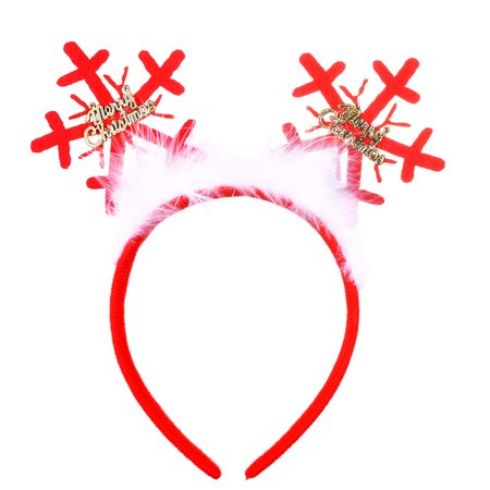 Lux Accessories Red Snowflakes Merry Christmas Feather Bow Fashion Headbands (Snowflake Headband)