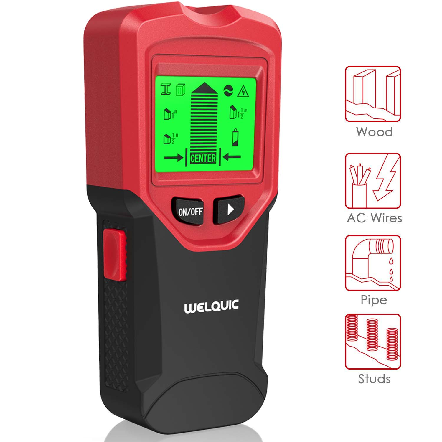 WELQUIC Stud Finder Tool, Magnetic Stud Finder and Level Wall Stud Sensor Scanner Detector with LCD Display, 3 in 1 Metal AC Live Wire Detector for AC Live Wire, Wood, Metal, Deep Scanning