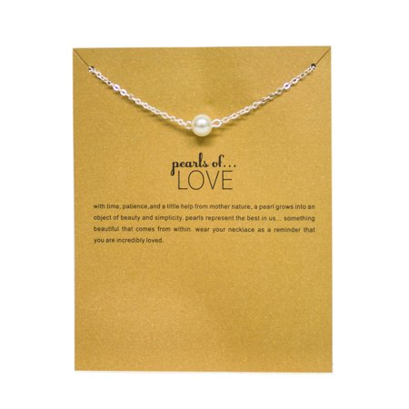 StylesILove Inspirational Quote Valentine's Day Clavicle Chain Women's Necklace in Original Package (Silver, Pearls of - Pearl Long Chain Necklace