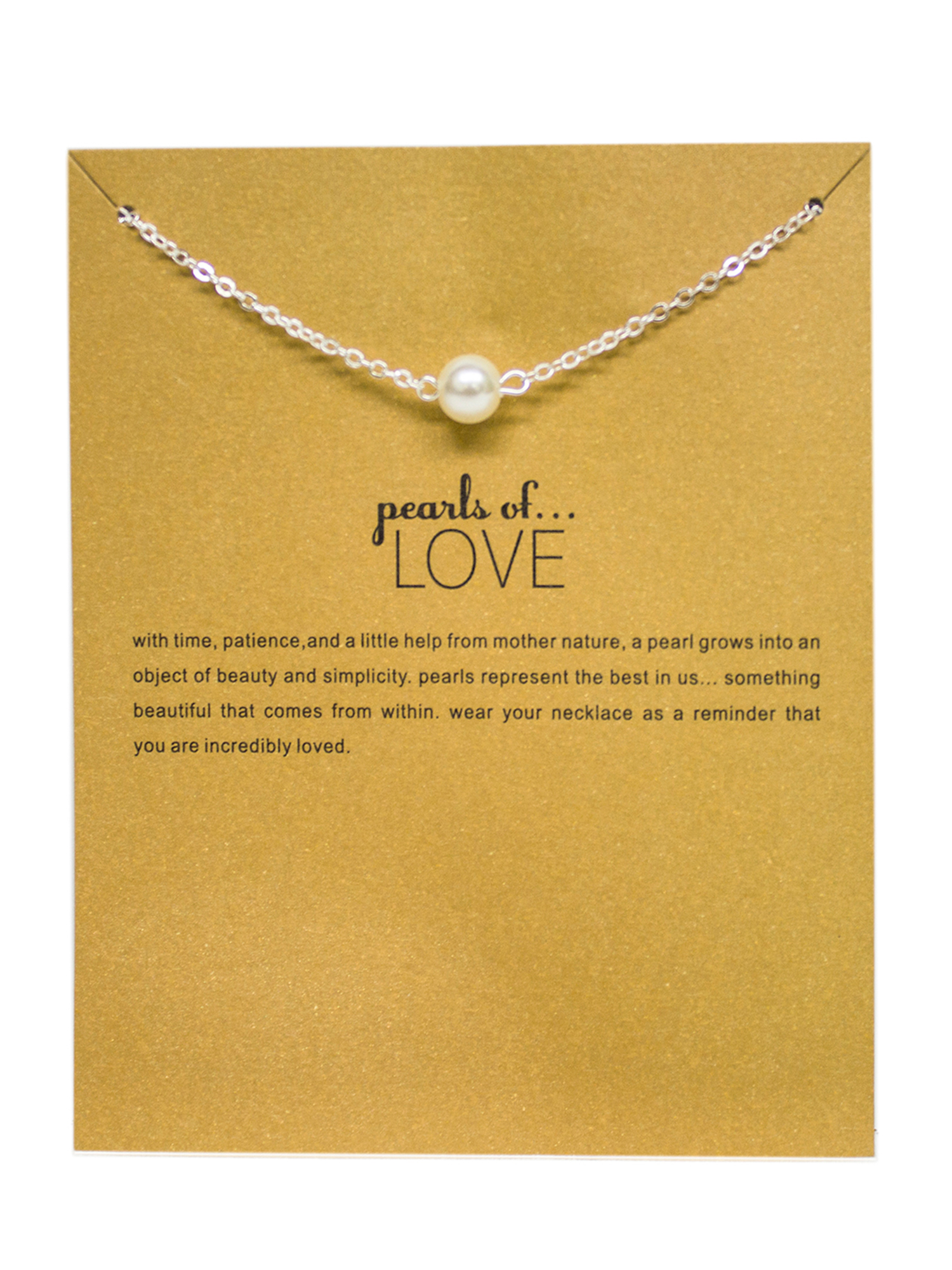 StylesILove Inspirational Quote Valentine's Day Clavicle Chain Women's Necklace in Original Package (Silver, Pearls of Love)