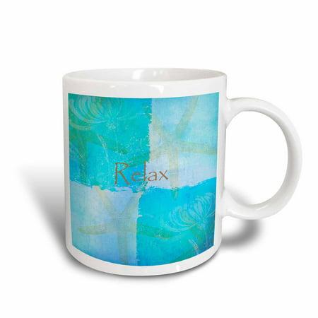 3dRose Relax Starfish Aqua and Blue Beach Theme with Ocean Colors, Ceramic Mug, - Aqua Colors