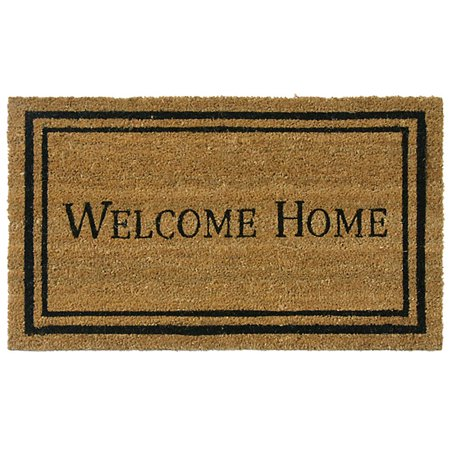 "Rubber-Cal ""Contemporary Welcome Home Mats"" Natural Coir Matting, 18 x 30-Inch"