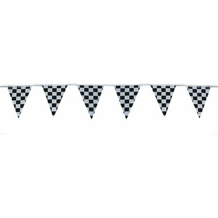 120' Checkered Outdoor Pennant Banner - Checkered Flag Pennant Banner