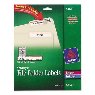Avery Adhesive Inkjet File Folder Labels, Orange Border, 750 per (Avery Labels 16 Per Page No Border)