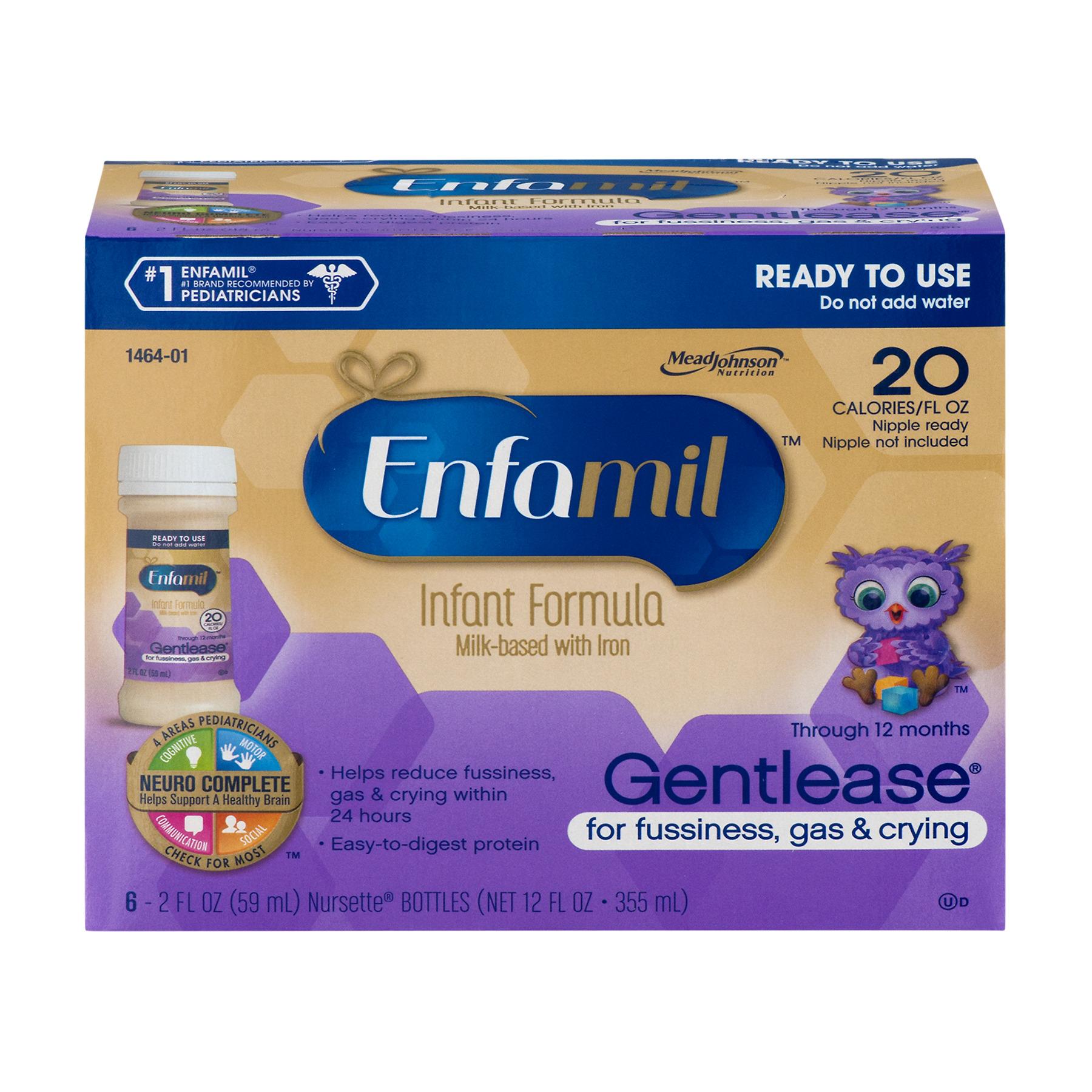 Enfamil Infant Formula Gentlease Nursette Bottles - 6 CT 2.0 FL OZ