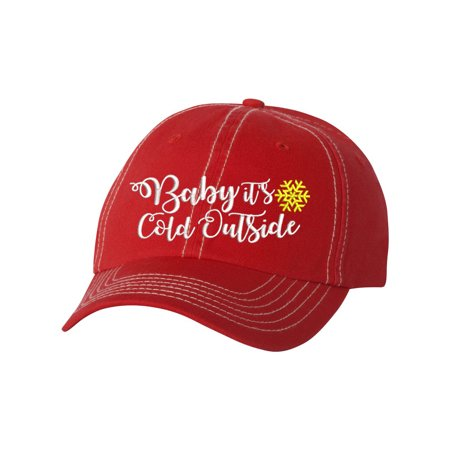 Baseball Cap for Women Embroidered Baby It's Cold Out Side Hat (Yellow Graduation Cap)