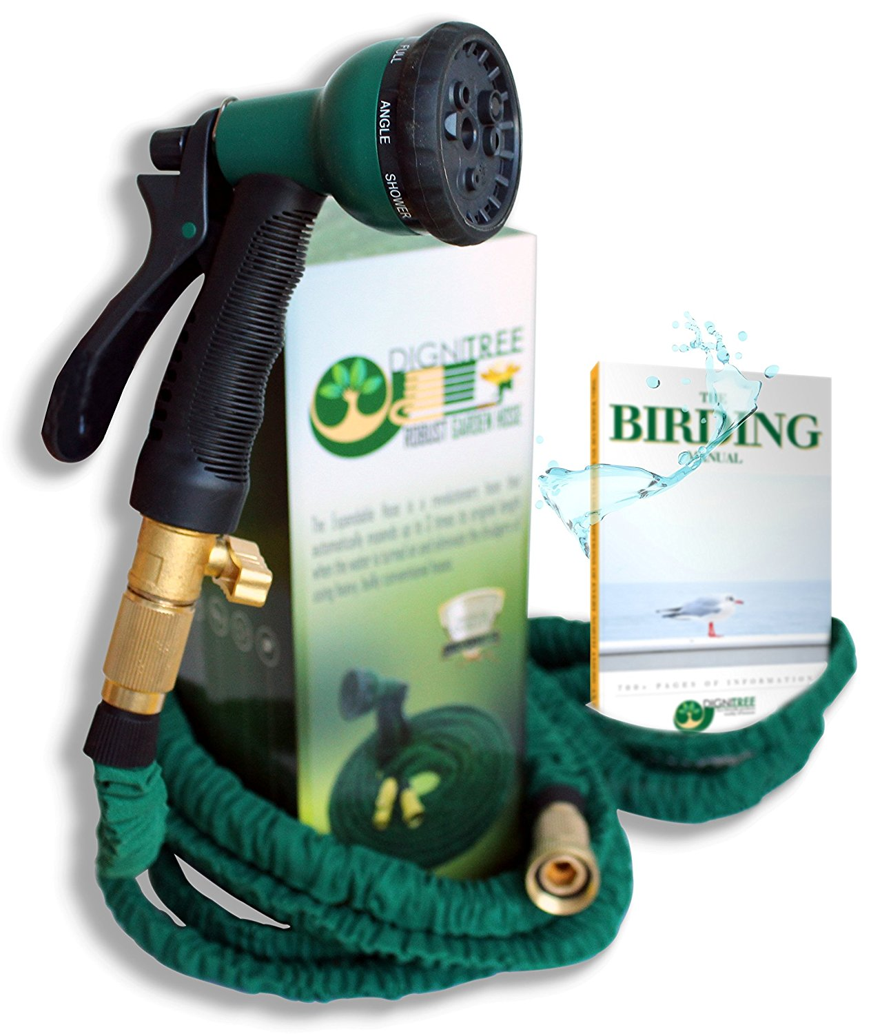 Premium 50 FT Expandable Garden Hose, Patent Pending Spandex Material 100% Brass Fittings... by Dignitree