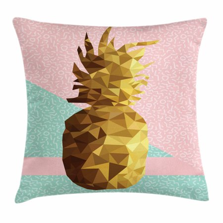 Indie Throw Pillow Cushion Cover, Retro Summer Concept Pineapple Fruit in Poly Design Memphis, Decorative Square Accent Pillow Case, 16 X 16 Inches, Light Pink Mint Green Light Brown, by Ambesonne for $<!---->