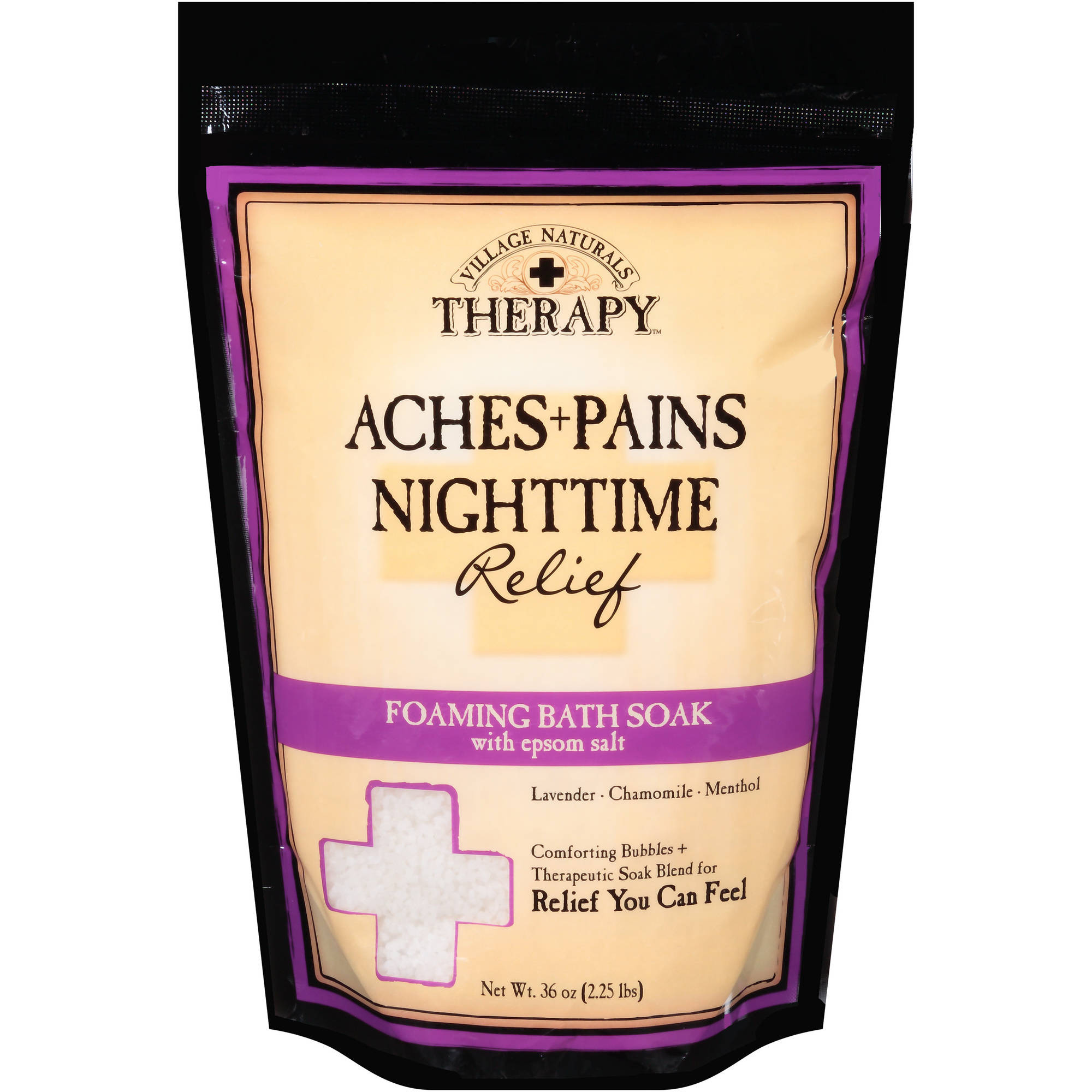 Village Naturals Therapy Aches+Pains Nighttime Relief Foaming Bath Soak with Epsom Salt, 36 oz