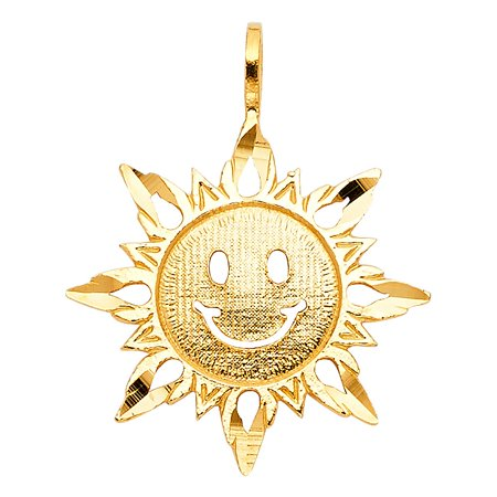Aries Italian Photo Charm - Real 14k Yellow Solid Italian Gold Happy Sun Face Charm 3/4 Inches Summer Pendant