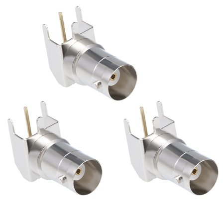 3PCS Welding BNC Female Right Angle Adapter PCB Panel Mount Coaxial RF Connector