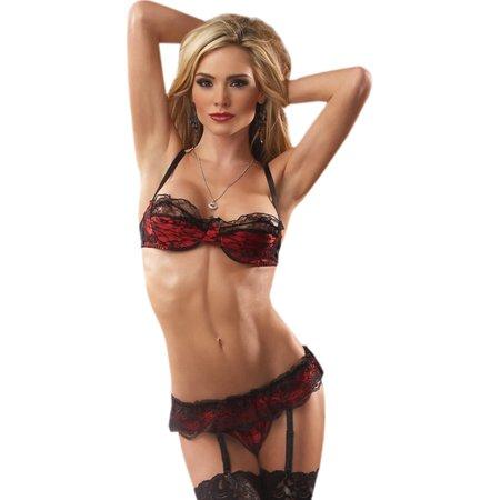 SeXy Red Black Lace Bra Thong Panty Garter Belt 3 Pc Set Lingerie Sizes: Large