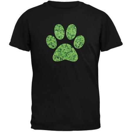 St. Patricks Day - Dog Paw Black Adult T-Shirt - St Patricks Shirts