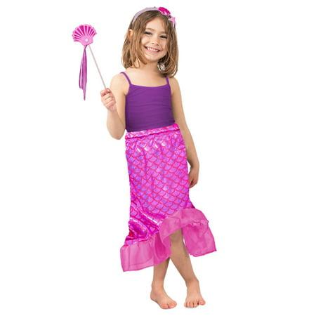 Girls Pink Mermaid Skirt Set Costume (Girls Pink Mermaid Costume)