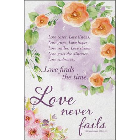 Bulletin-Love Cares. Love Listens. Love Never Fails (1 Corinthians 13:8) (Wedding) (Pack Of 100)](Wedding Bulletins)
