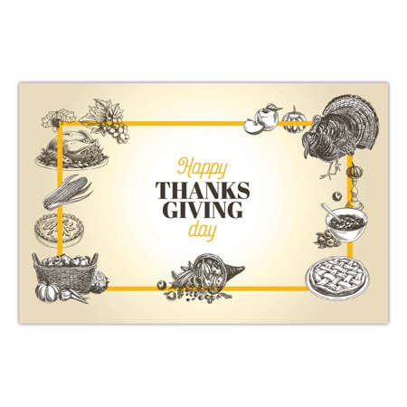 Thanksgiving Paper Placemats Pack of 25 Traditional Turkey Day Family Meal Parties Dinner Table Settings Decor Disposable Quick Cleanup 17