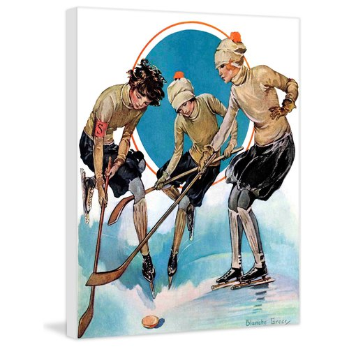 Marmont Hill Girls Playing Ice Hockey By Blanche Greer Painting Print On Canvas Walmart Com Walmart Com