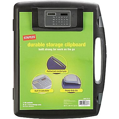 Staples Portable Storage Clipboard With Calculator Black
