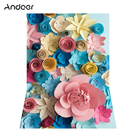 Andoer 1.5 * 2.1m/5 * 7ft Blossoming Paper Flower Photography Background Wedding Backdrop Photo Studio Pros - Paper Photo Backdrops