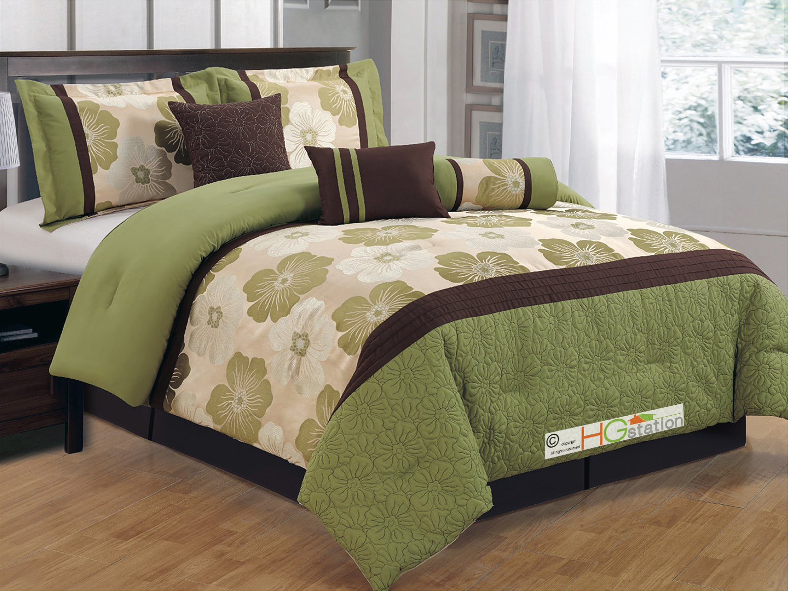 11 Pc Quilted Jacquard Flower Striped Comforter Curtain Set Sage Green Brown Gold Beige Queen Walmart Com Walmart Com