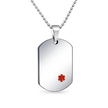 Medical Alert ID Dog Tag Pendant Engravable Necklace For Men For Stainless Steel Bead Chain 20