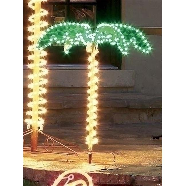 NorthLight 4. 5 ft.  Tropical Lighted Holographic Rope Light Outdoor Palm Tree Yard Decoration