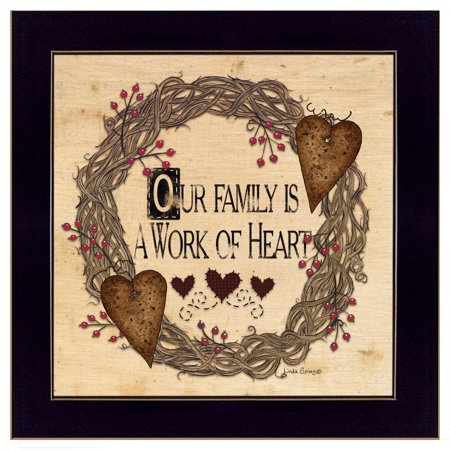 """Trendy Decor 4U """"Our Family is a work of the Heart"""" Linda Spivey, Ready to Hang Framed Print, Black Frame"""