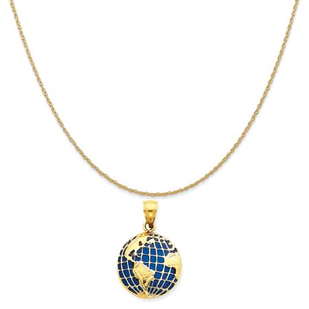 14k Yellow Gold Ceramic (14k Yellow Gold Bluetranslucent Acrylic Globe Pendant on 14K Yellow Gold Rope Chain Necklace, 16