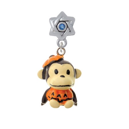 David Costume (Resin Monkey in Pumpkin Costume - Star of David with Blue Crystal Charm)