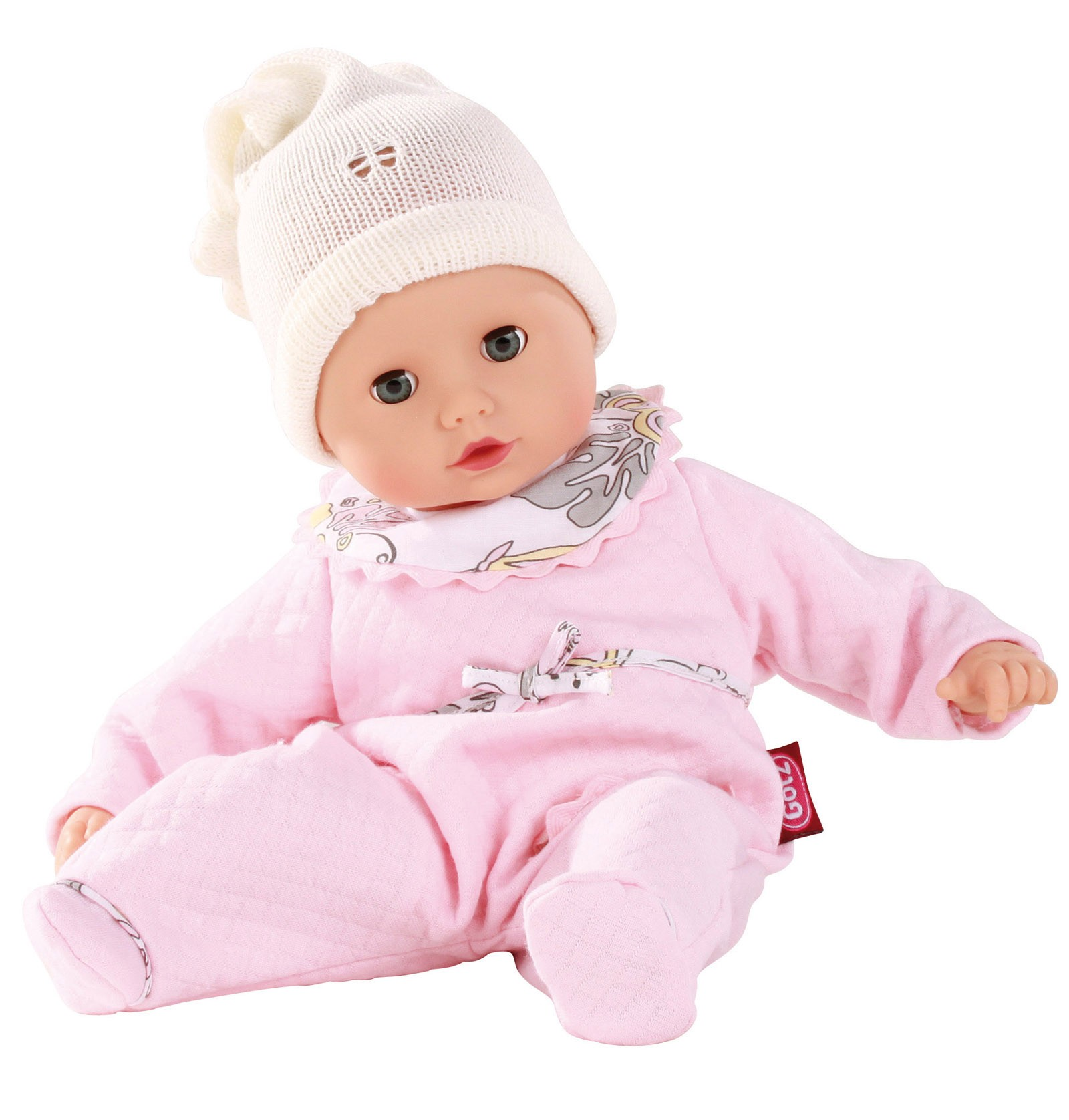 """GOTZ Muffin 13"""" Bald Baby Doll with Pink PJ's and Blue Op..."""