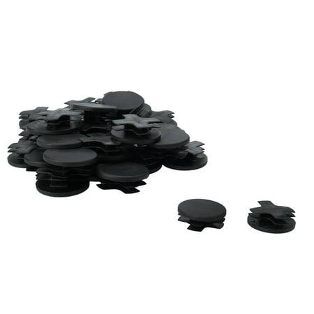 "30pcs 38mm OD Plastic Round Tube Insert Ribbed Pipe Cover Caps Black Table Floor Protector, 1.38""-1.46"" Inner Dia - image 1 de 7"