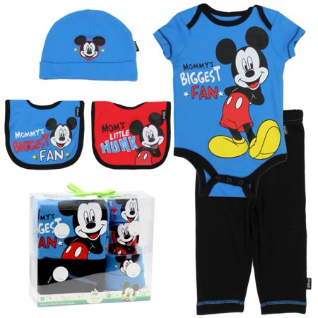 Mickey Mouse 5 pc Baby Gift Set Mommy's Biggest Fan Baby Outfit - Mickey Mouse Outfit