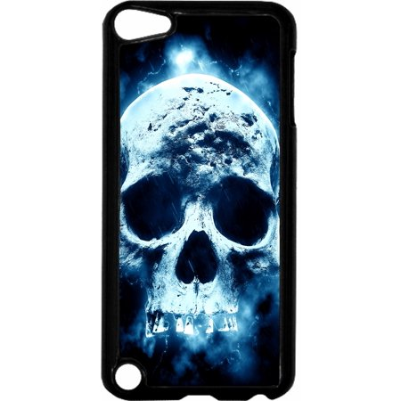 Skull Hard Plastic Case (Smokey Blue Skull   - Hard Black Plastic Case Compatible with the Apple iPod Touch 6th Generation - iTouch 6 Universal)