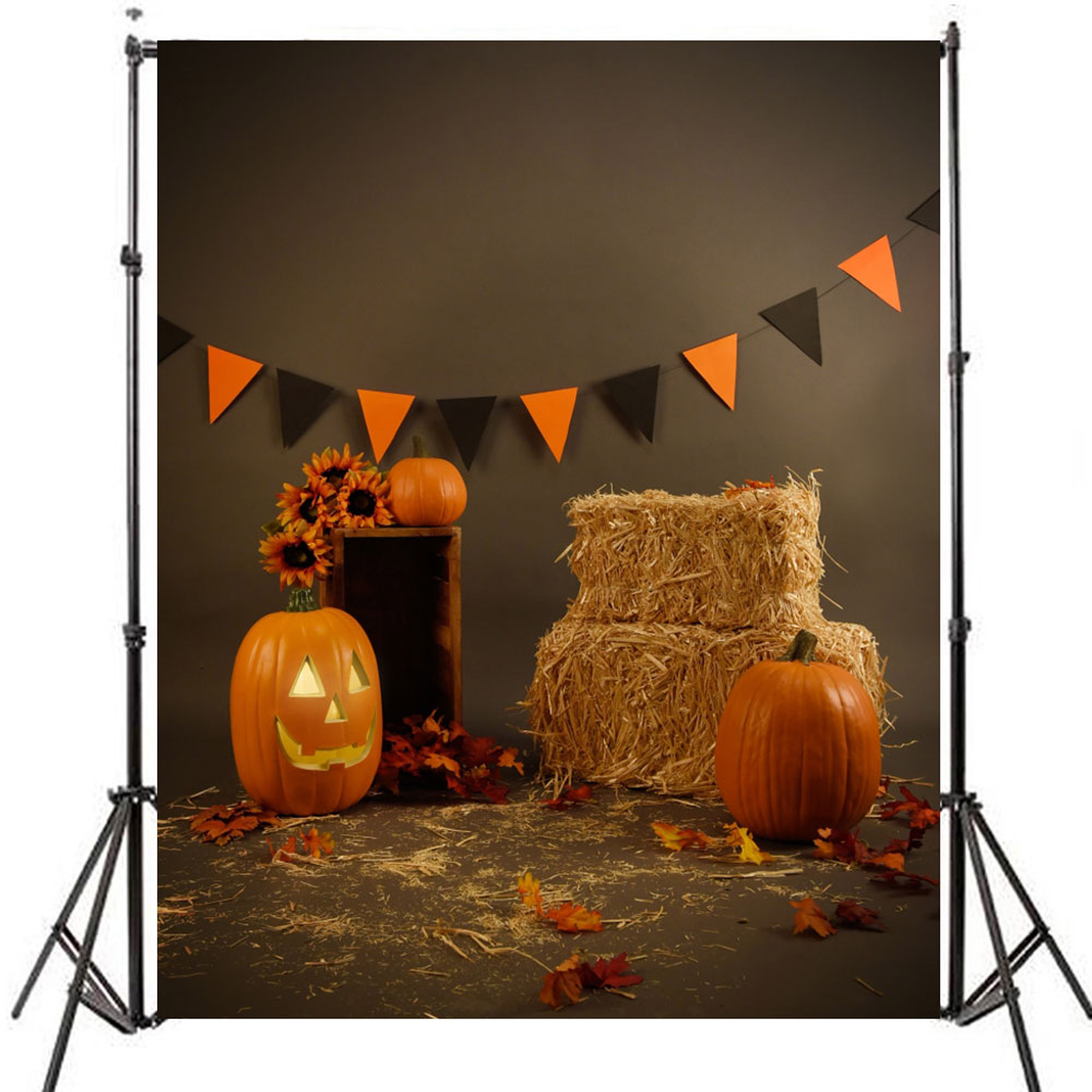 W Night Halloween Photography Background with Gate Pumpkin Lantern Graveyard Tomb Backdrops for Photographic Studio Props Cotton Cloth Halloween Background x5ft H Kate7ft