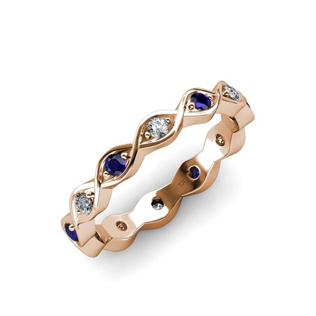Blue Sapphire and Diamond Twisted Eternity Band 0.28ct tw to 0.31ct tw in 18K Rose Gold.size 5.5