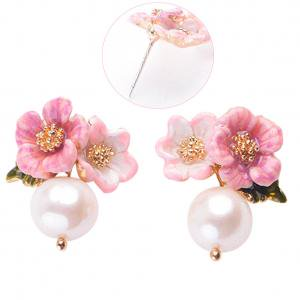 Fancyleo Fashion Wild Painted Enamel Pearl Earrings Delicate Leaves Flowers Small Ornaments